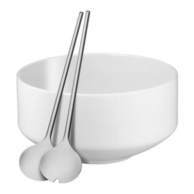 Zestaw do sałatek: miska+sztućce, biały WMF