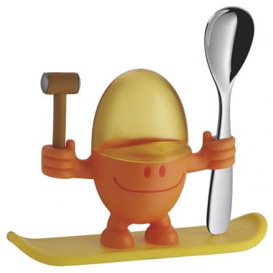 WMF - Kieliszek na jajko z łyżeczką, pomarańczowy