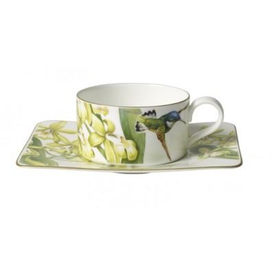 Filiżanka do herbaty ze spodkiem Villeroy & Boch Amazonia, 230 ml