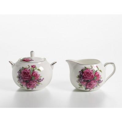 Zestaw do mleka i cukru liliowa róża Maxwell & Williams Royal Old England