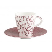 Filiżanka do espresso ze spodkiem Villeroy & Boch Caffe Club Floral berry, 0,1 l
