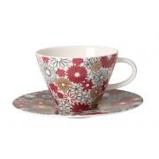 Filiżanka do białej kawy ze spodkiem Villeroy & Boch Caffe Club Fiori, 390 ml