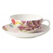 Filiżanka do herbaty ze spodkiem Villeroy & Boch Anmut Flowers, 200 ml