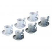 Zestaw 6 kubków do espresso Contento Intermezzo, szare-białe