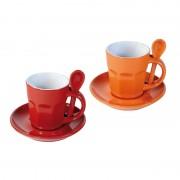 Zestaw dwóch kubków Contento Intermezzo, czerwony-pomarańczowy