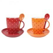 Kubki do kawy/herbaty Contento Putini, czewono-pomarańczowe