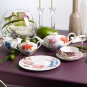 Serwis obiadowo-kawowy Villeroy & Boch Anmut Flowers dla 12 osób (53 elementy)